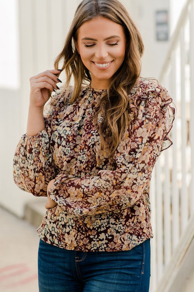 ditsy floral ruffled blouse