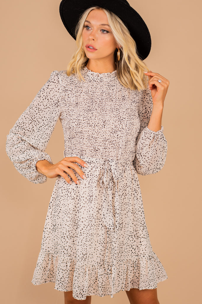spotted smocked long sleeve dress