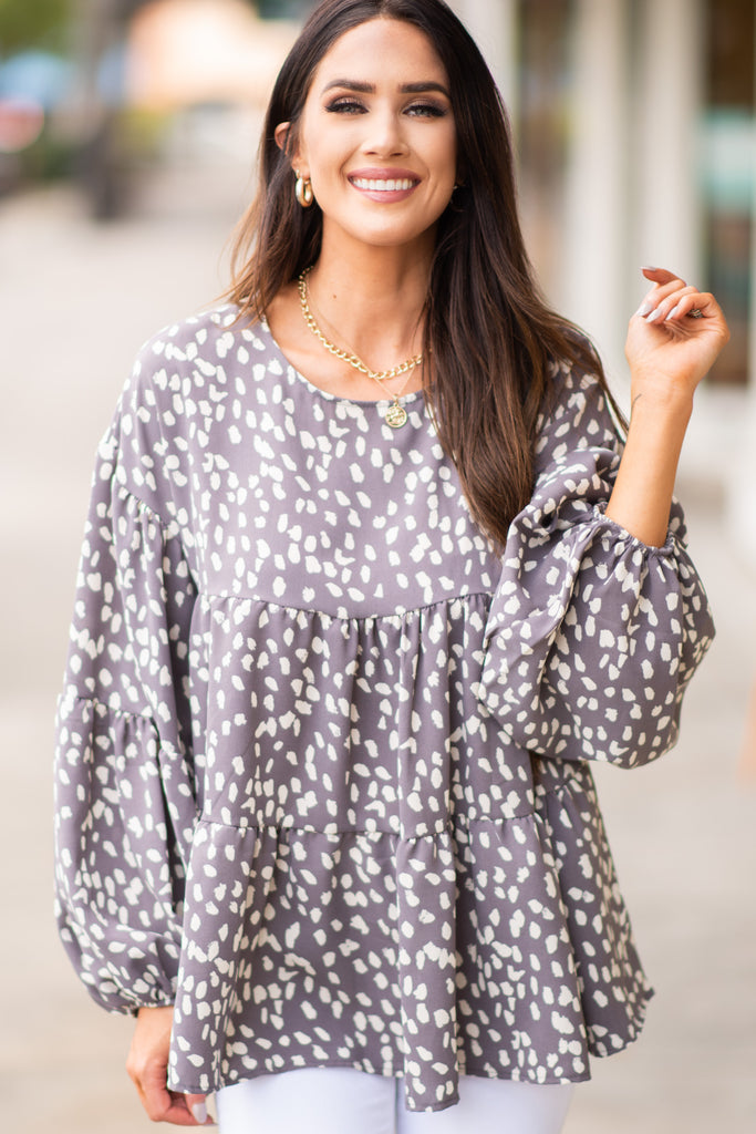 spotted animal print bubble sleeve top