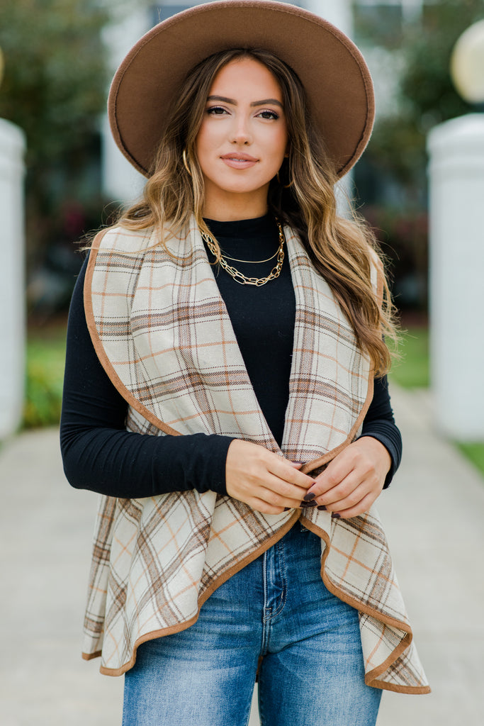 On The Way Beige Brown Plaid Vest