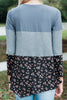 colorblock ditsy floral top