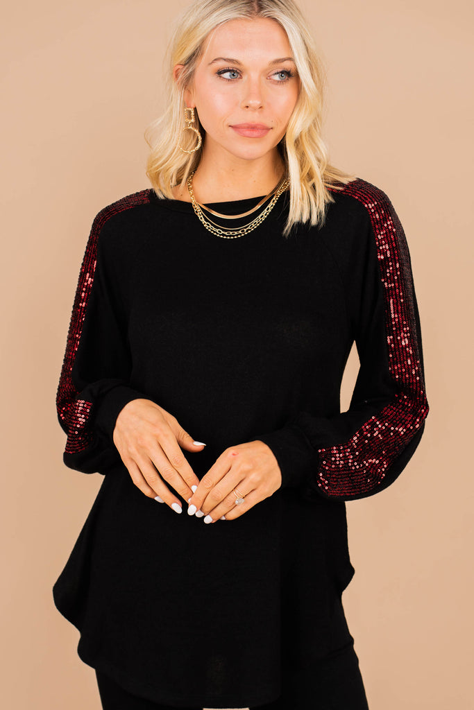 sequin detailed bubble sleeve top