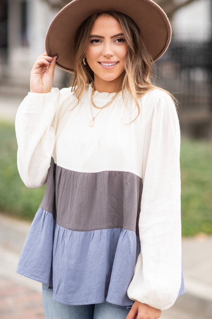 colorblock ruffled long sleeve top