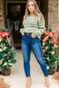 Winter Wonder Olive Green Christmas Print Sweater