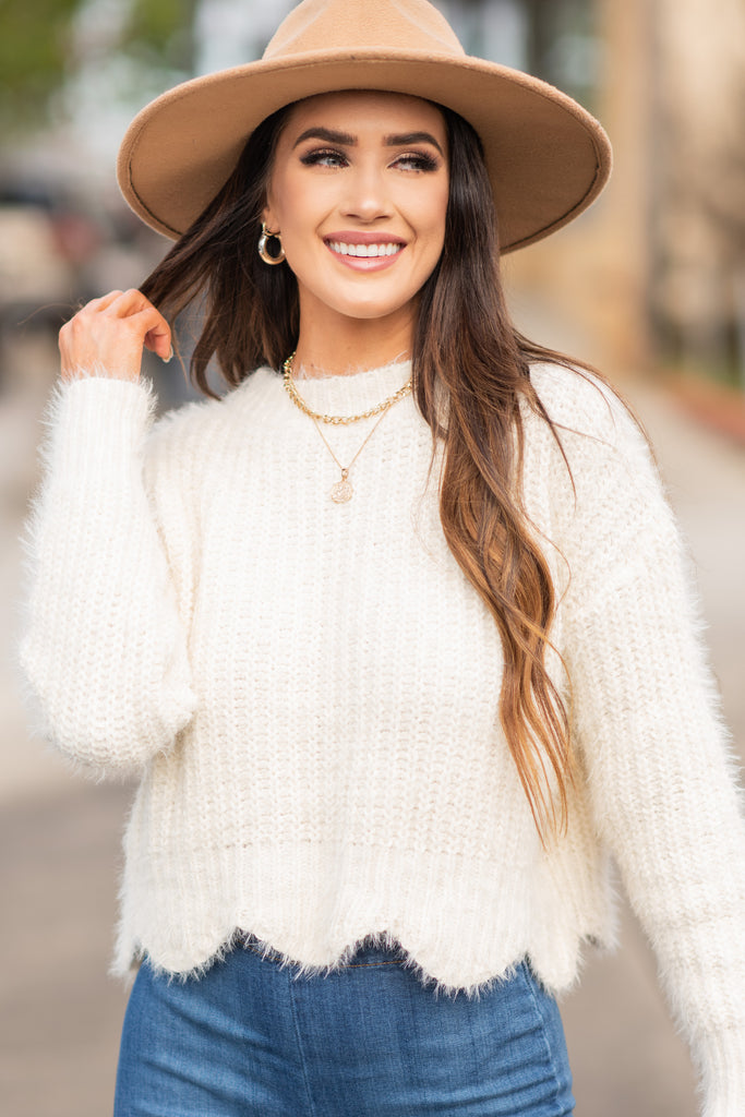 Feel The Fun Ivory White Scalloped Sweater