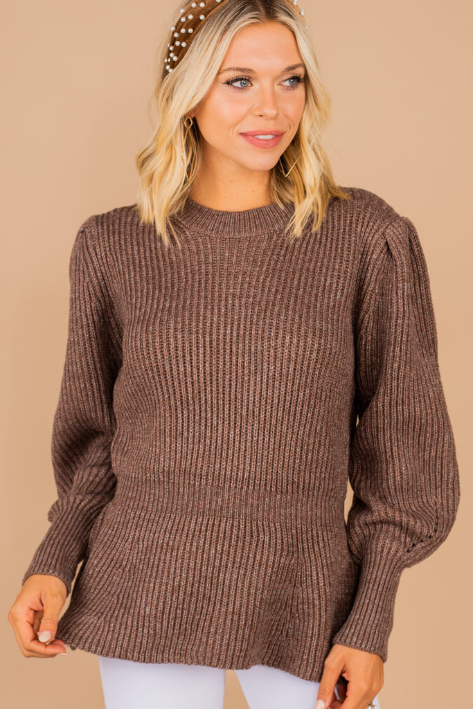 Flattery Gets You Everywhere Coffee Brown Sweater