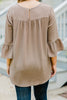 No Need To Explain Mocha Brown Ruffle Sleeve Top