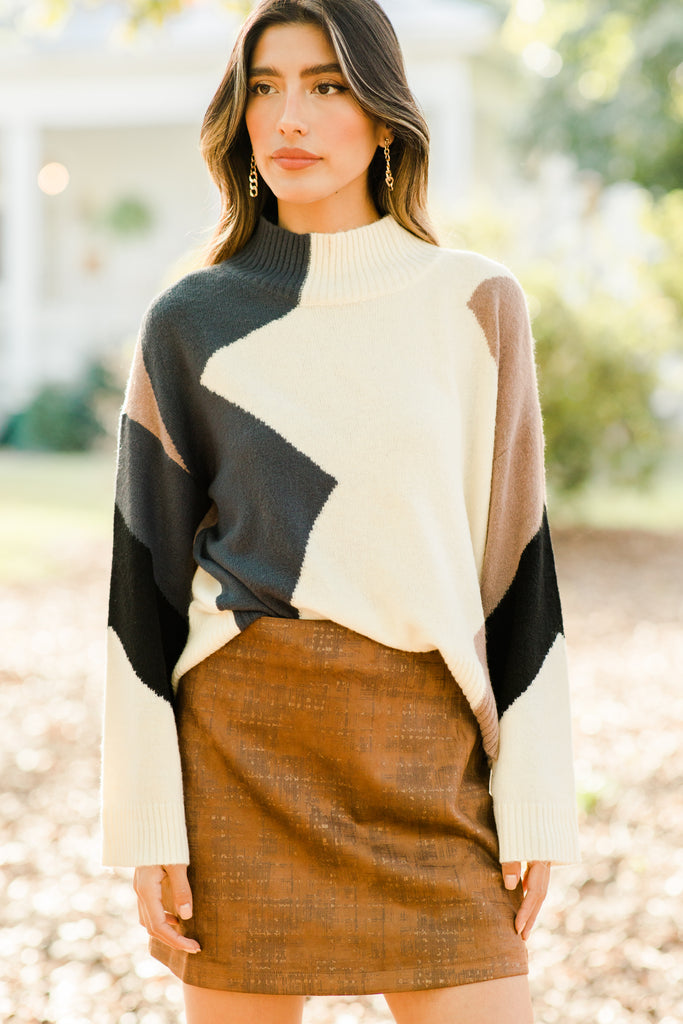 Expect The Unexpected Ivory Colorblock Sweater
