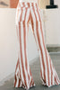 striped raw hem flare jeans