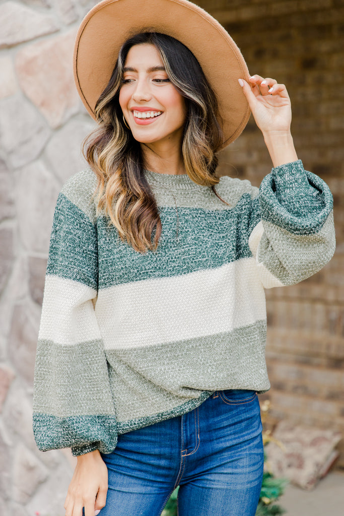 colorblock bubble sleeve sweater