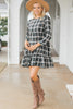 3/4 sleeve plaid dress
