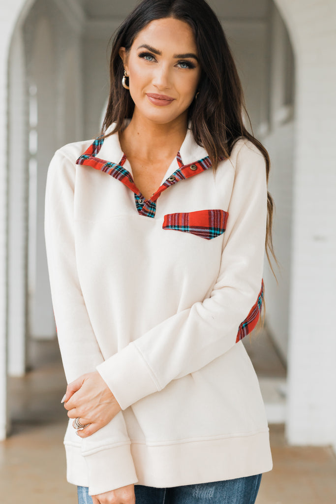 plaid trim pullover