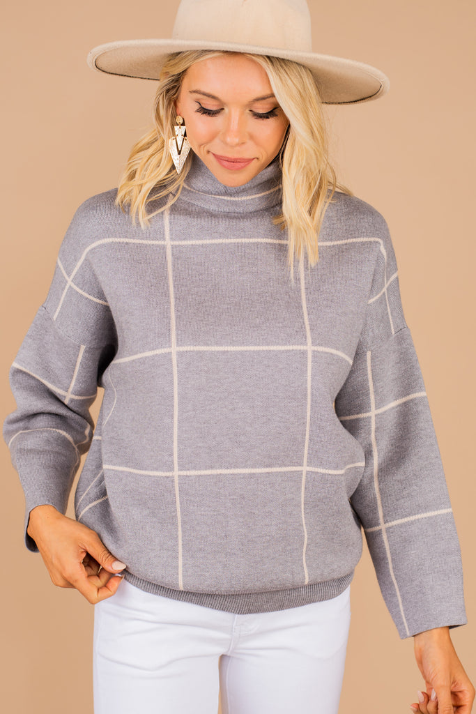 chic mock neck grid sweater