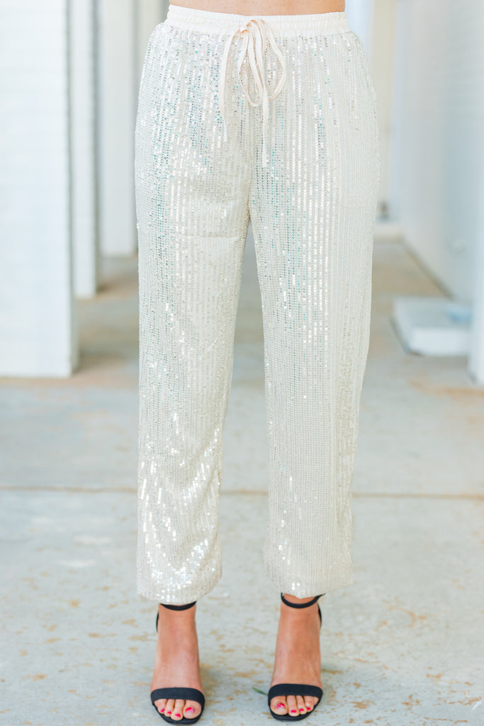 elastic waist sequin pants