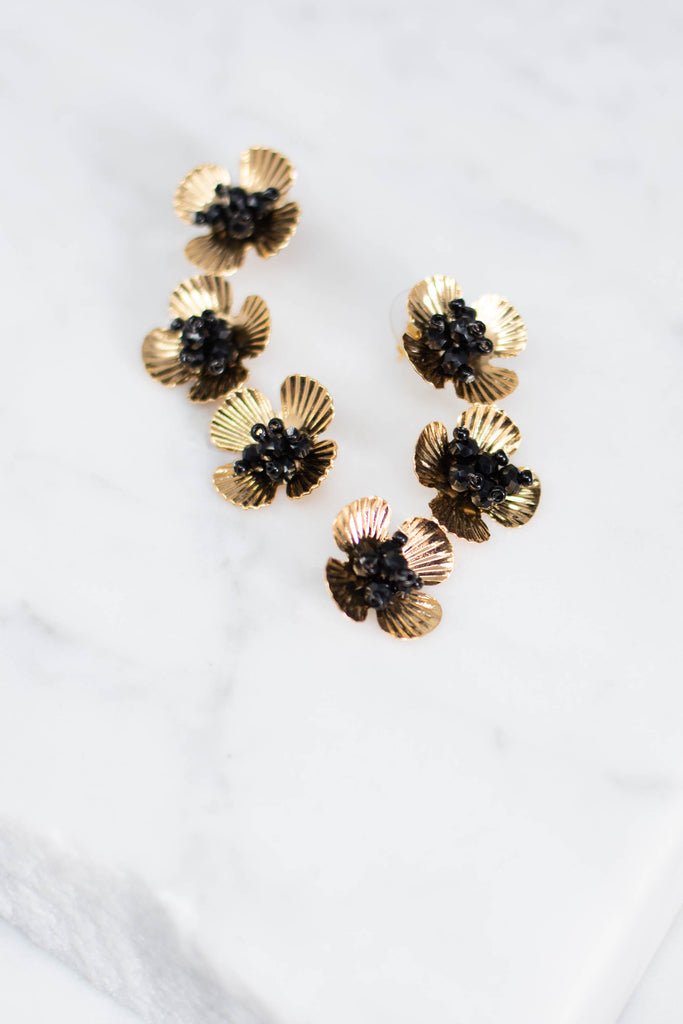 Treasure Jewels: Here's The Proof Triple Daisy Black Earrings