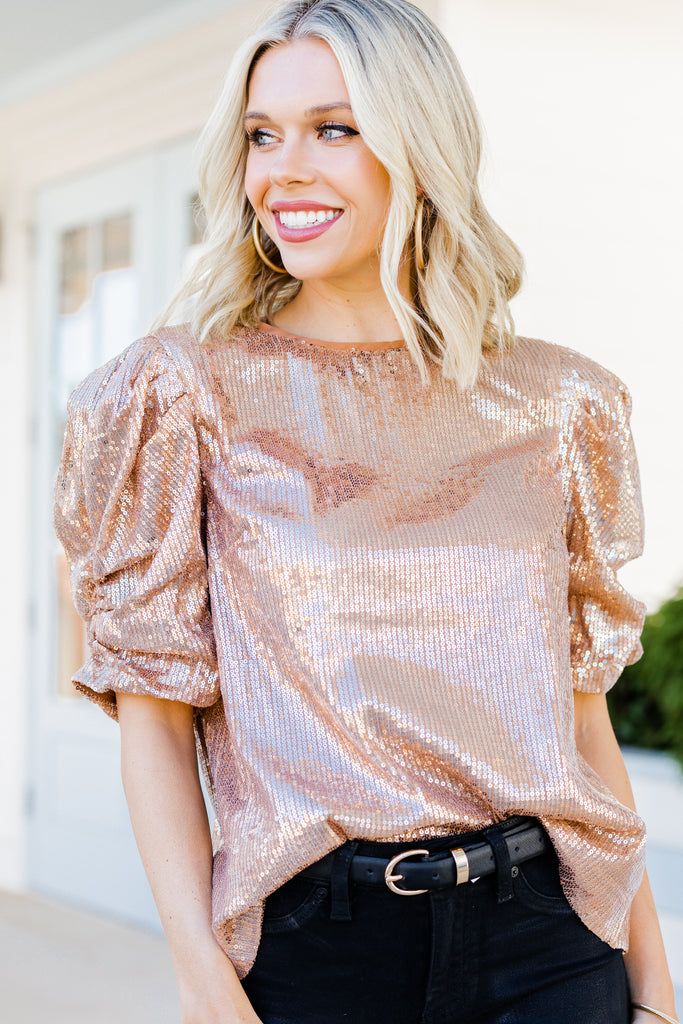 Give Me Your Love Rose Gold Sequin Blouse