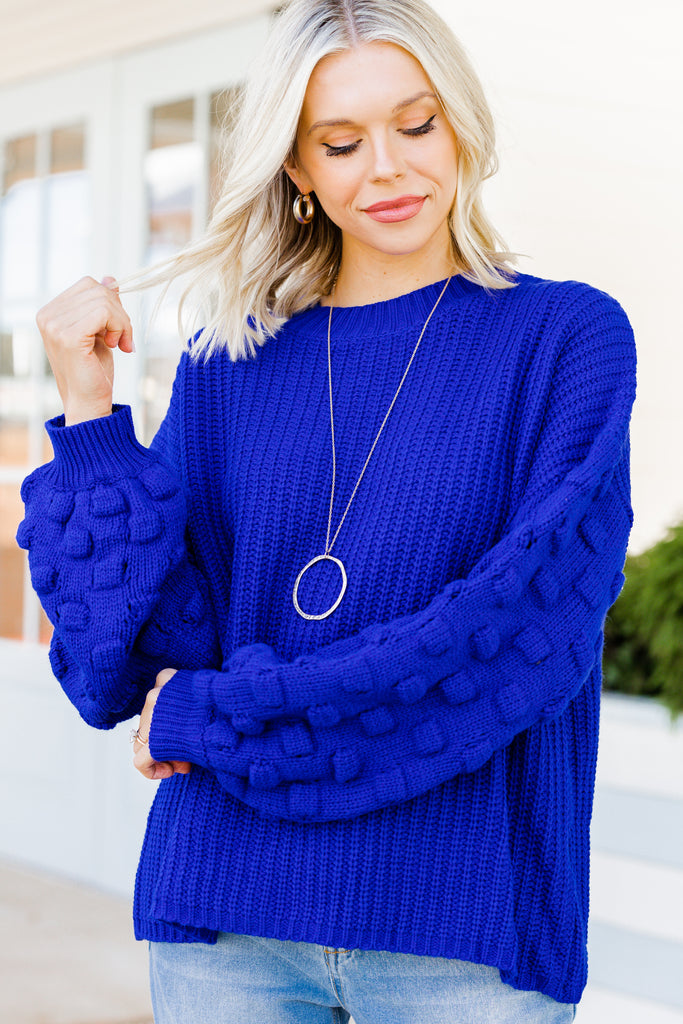 textured bubble sleeve sweater