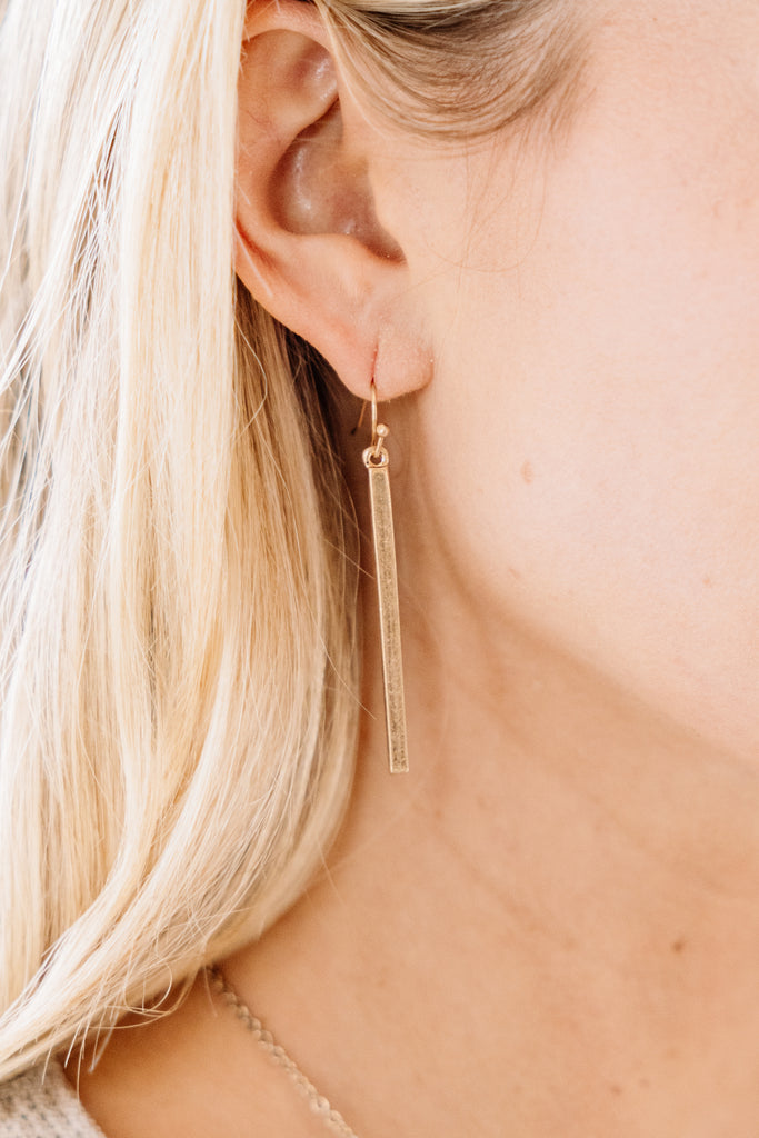 Drop In Gold Earrings