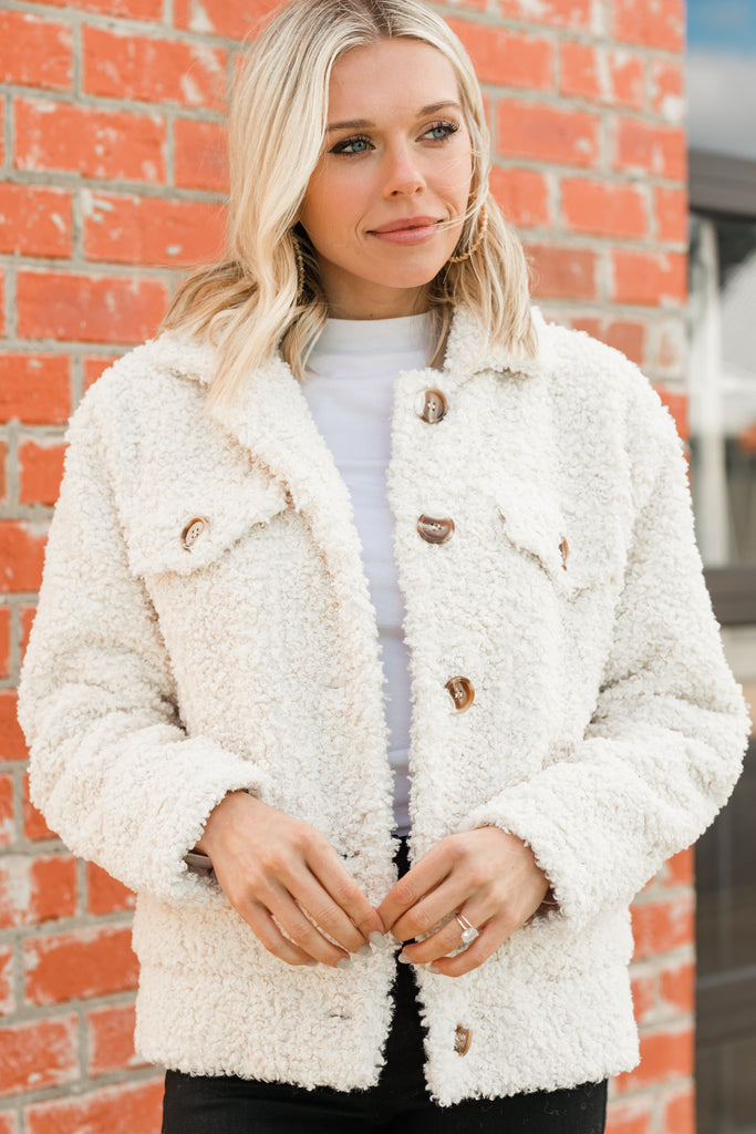 Keep Me Near Cream White Sherpa Teddy Jacket