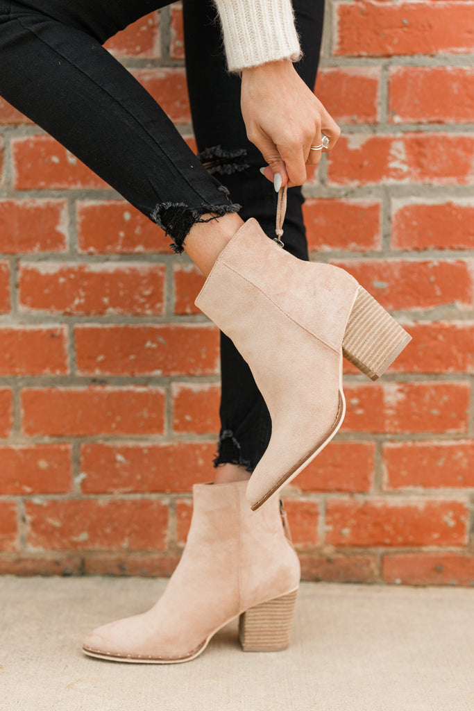 In Your Dreams Taupe Brown Booties
