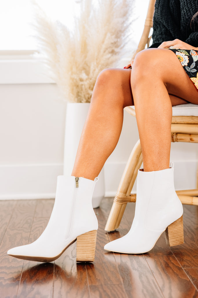All For The Fun White Booties