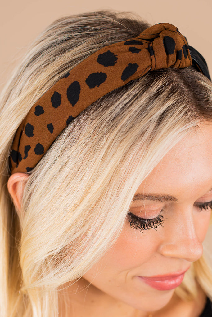 spotted leopard knotted headband