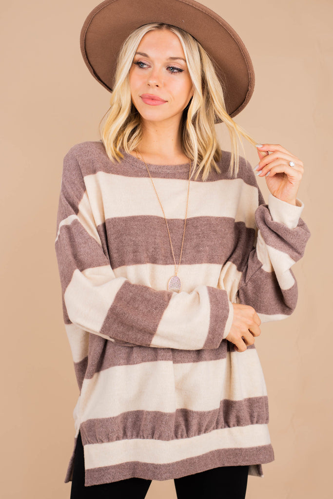 chunky striped bubble sleeve pullover