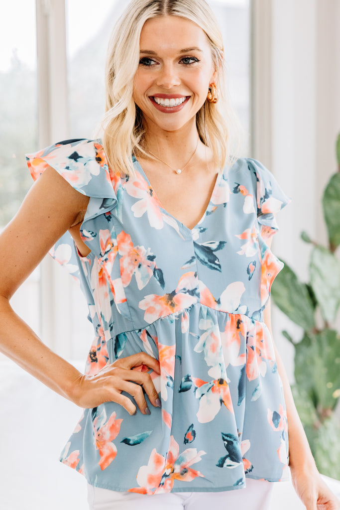 What A Lovely Day Light Blue Floral Blouse