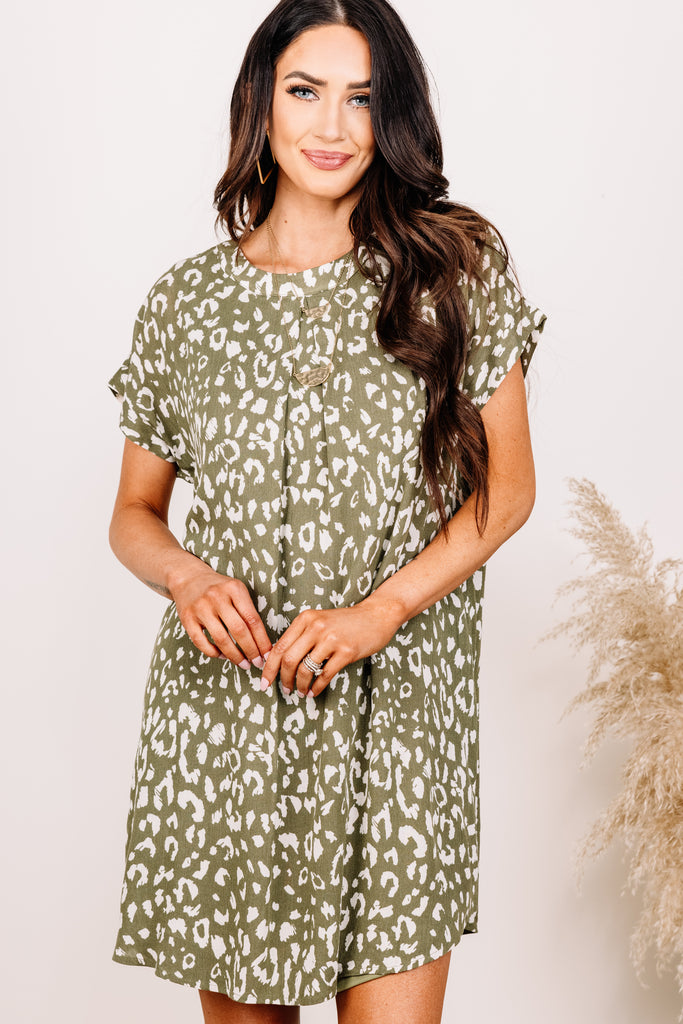 leopard short sleeve dress
