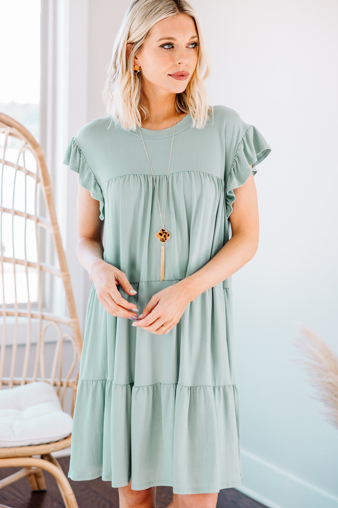 Living For Love Seafoam Green Tiered Dress