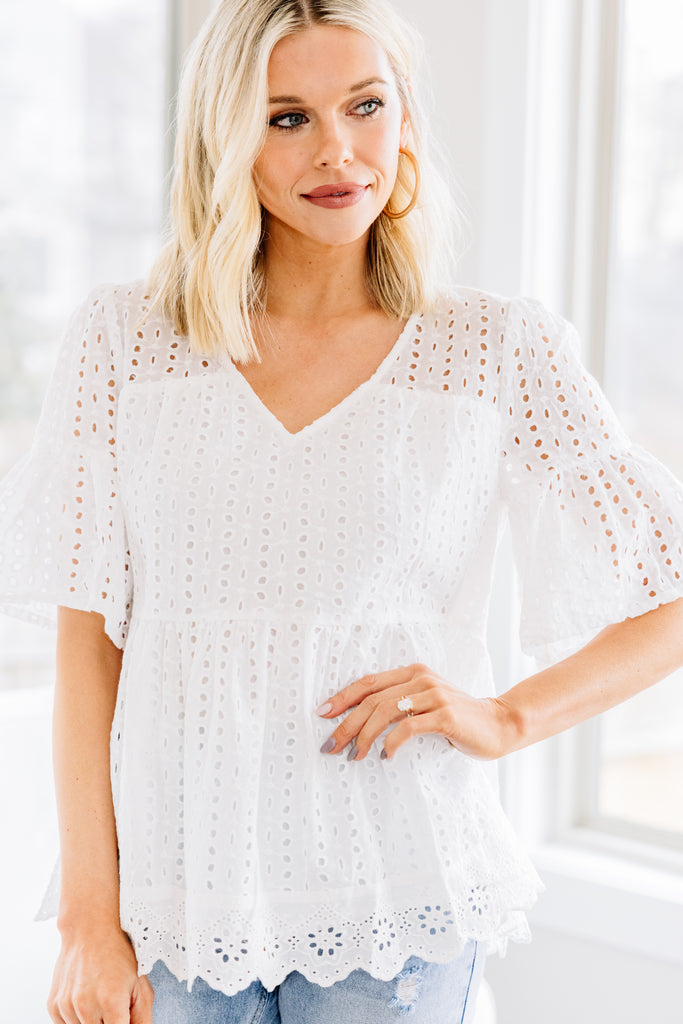 Tied To You White Eyelet Babydoll Top