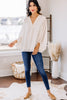 solid 3/4 bubble sleeve blouse