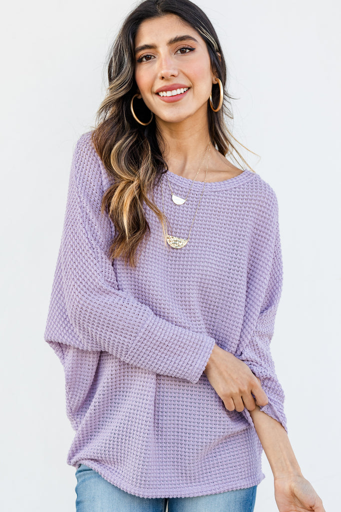 relaxed fit waffle top