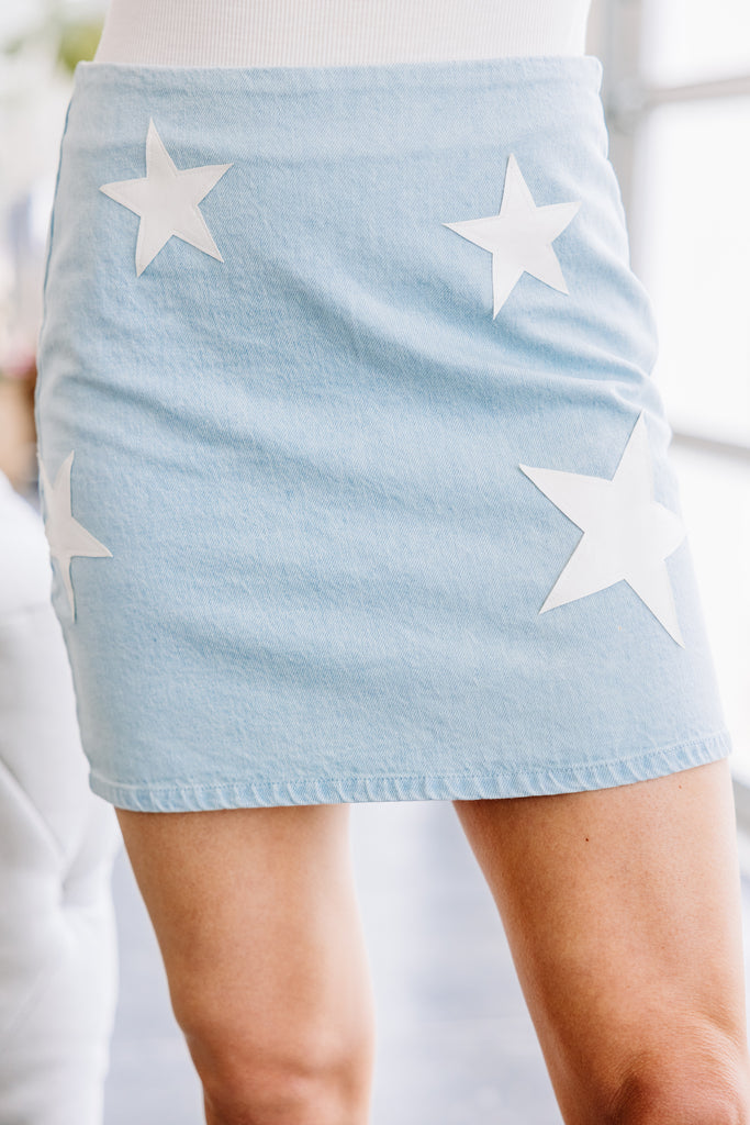 star printed blue skirt