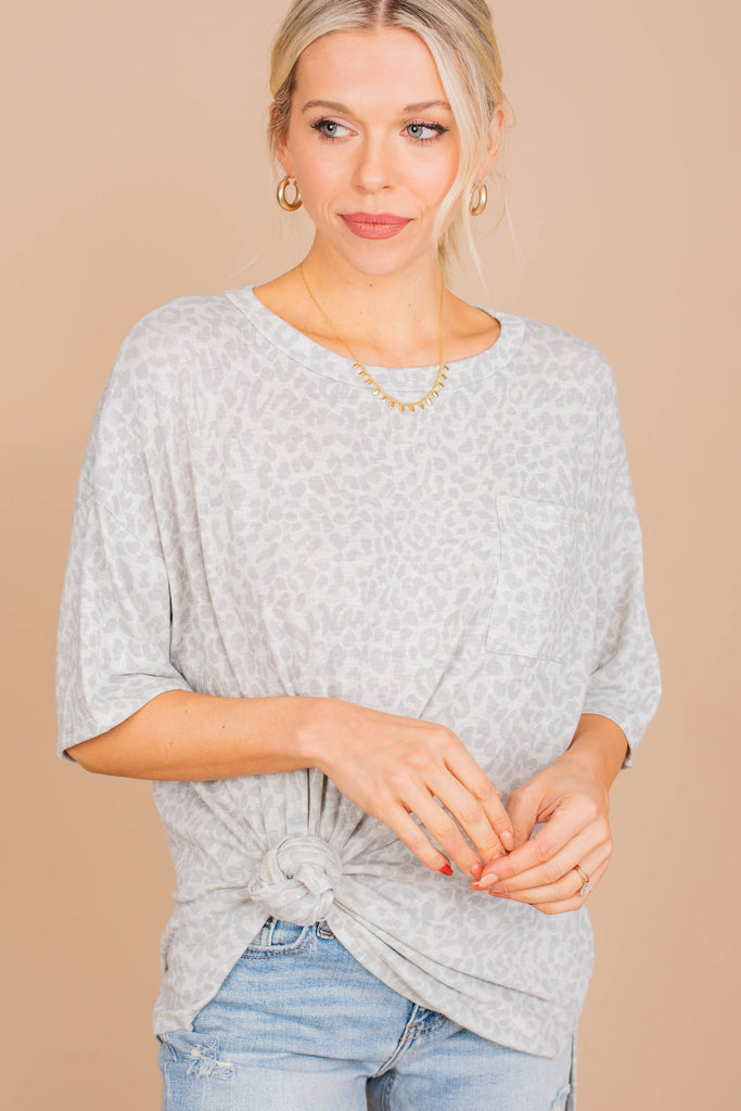 First In Line Oatmeal White Leopard Top
