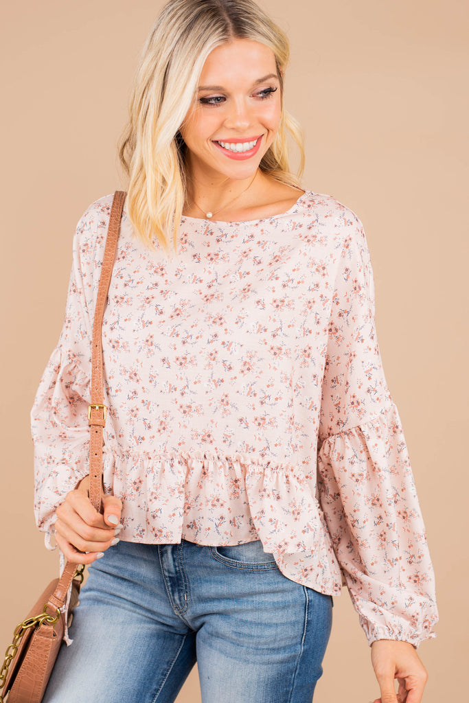 ditsy floral bubble sleeve top