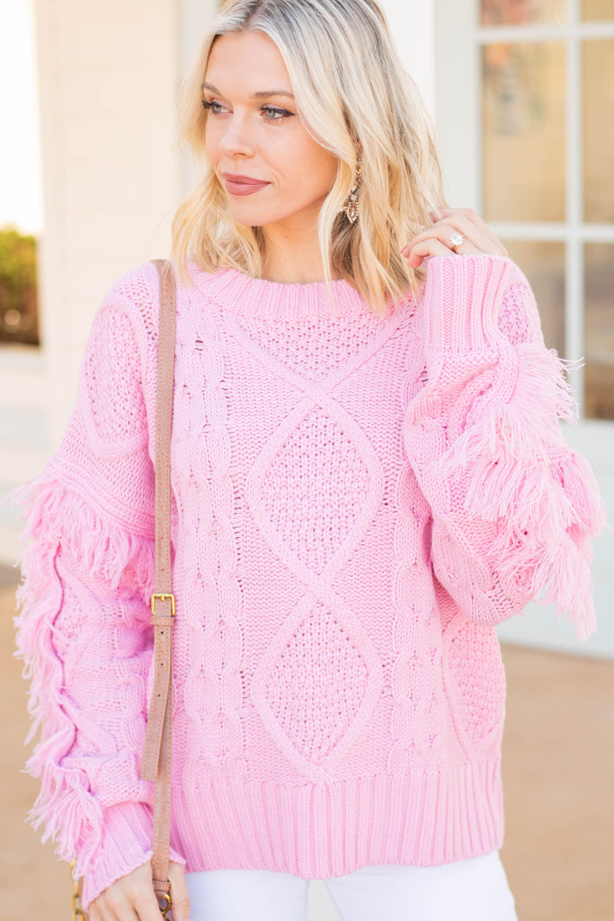 cable knit fringe sleeve sweater
