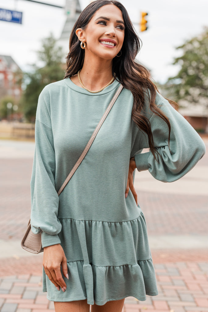 long bubble sleeve tiered dress