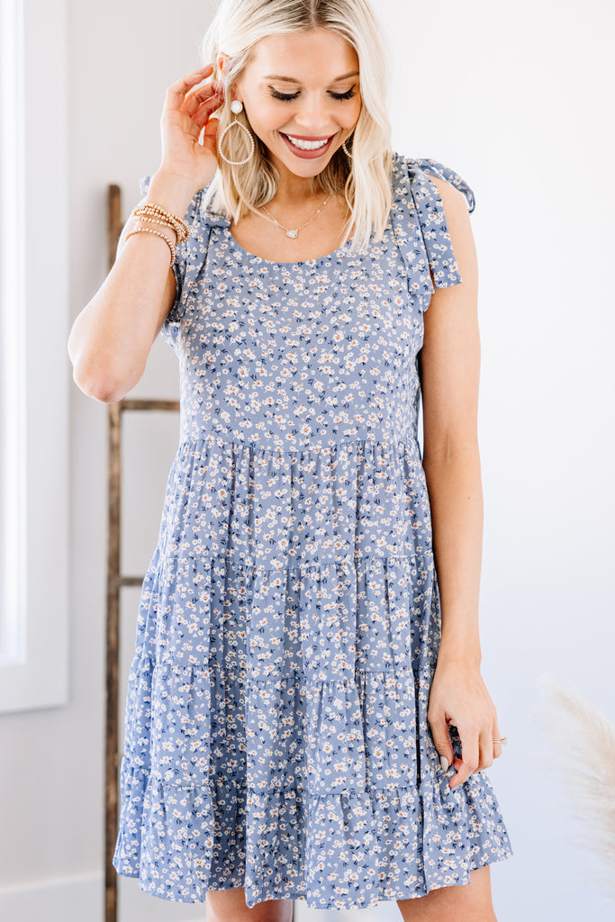 blue ditsy floral babydoll dress