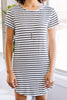 striped white t-shirt dress