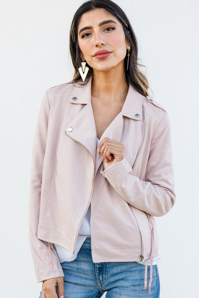 solid faux sued jacket