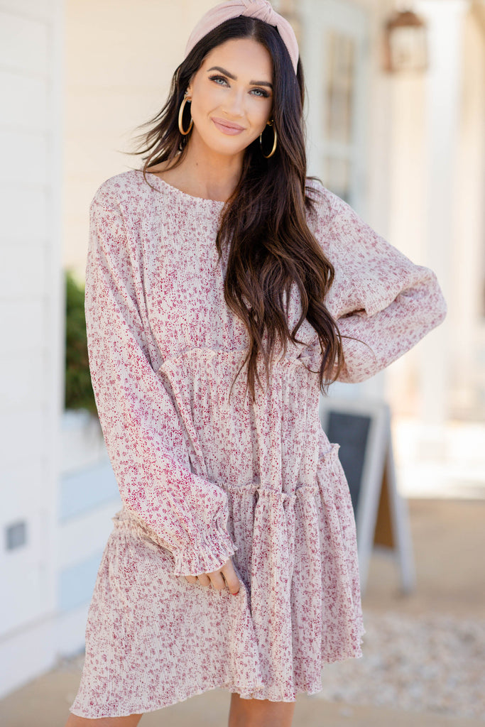 ditsy floral long sleeve dress