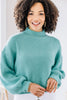 Happy To See You Jade Green Mock Neck Sweater