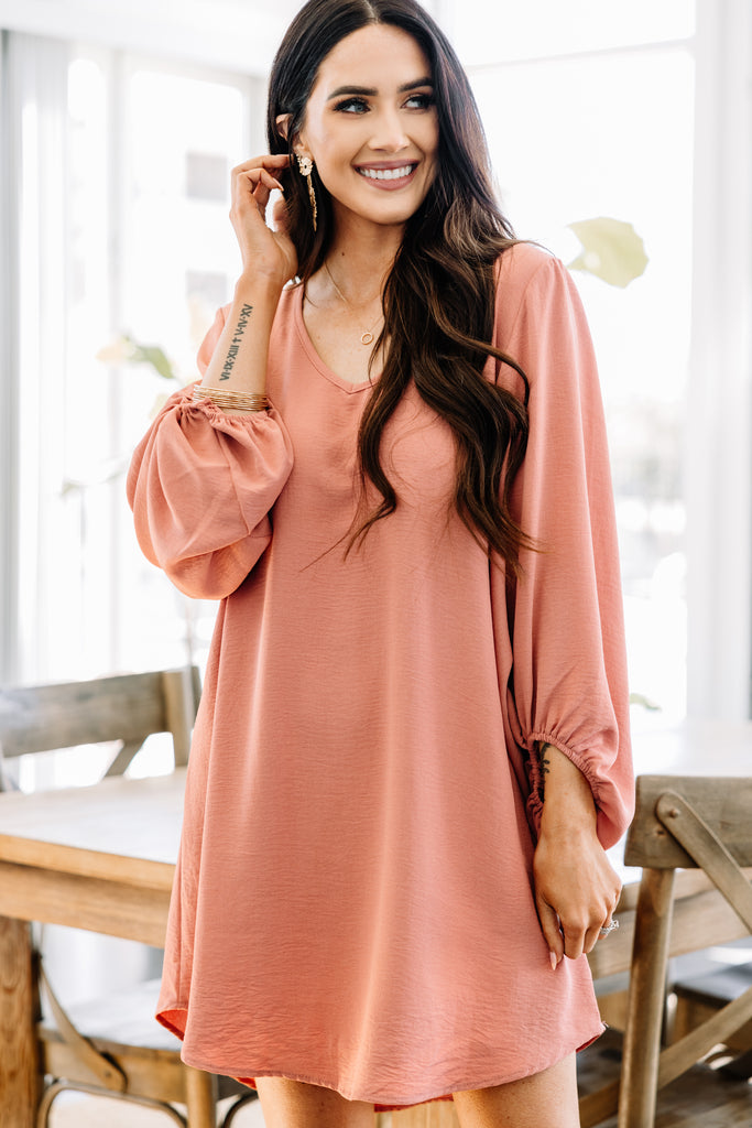 solid bubble sleeve dress