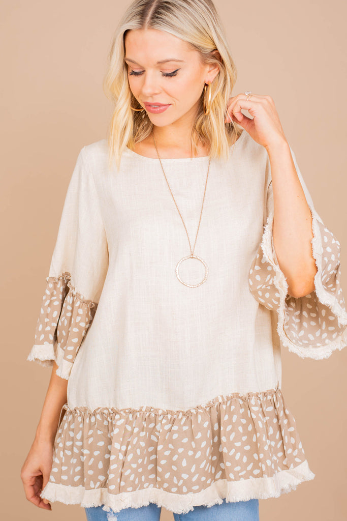 spotted bell sleeve top