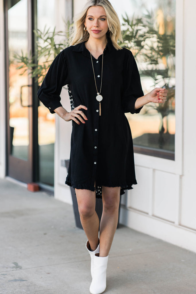 button down spotted dress