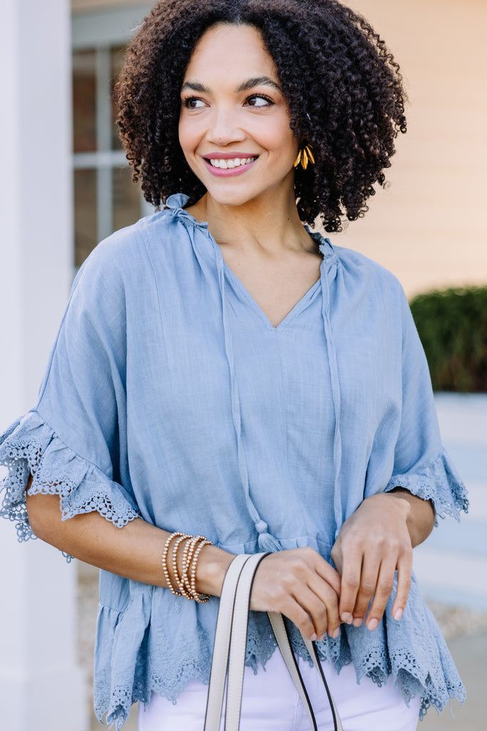 crochet trim chambray top