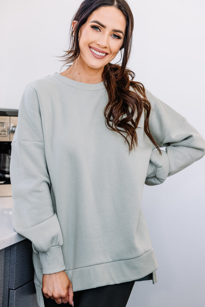 Full Time Comfort Light Sage Green Bubble Sleeve Pullover