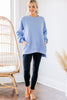 Full Time Comfort Spring Blue Bubble Sleeve Pullover