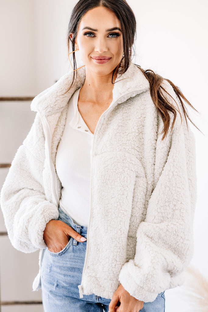 white sherpa jacket
